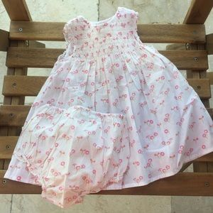 Dress + pants Jacadi 9 / 12 months smocks flowers